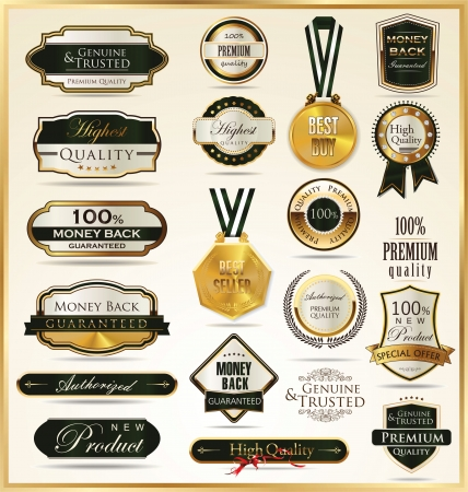ribbon badge: Luxury golden shields Illustration