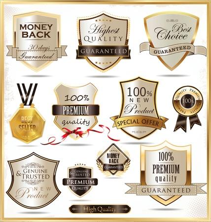 golden shield: Luxury golden shields Illustration