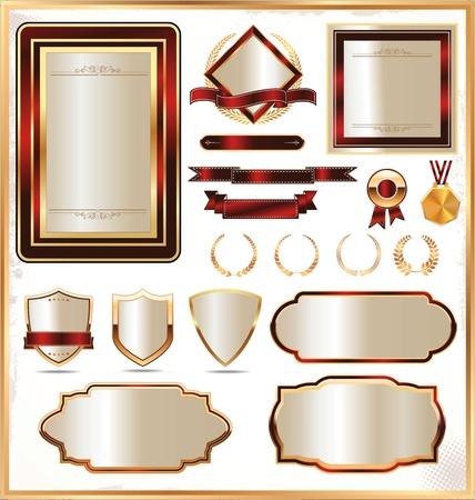 Luxury gold framed label Vector