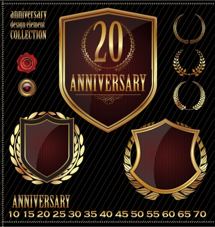 Anniversary gold and brown labels Vector