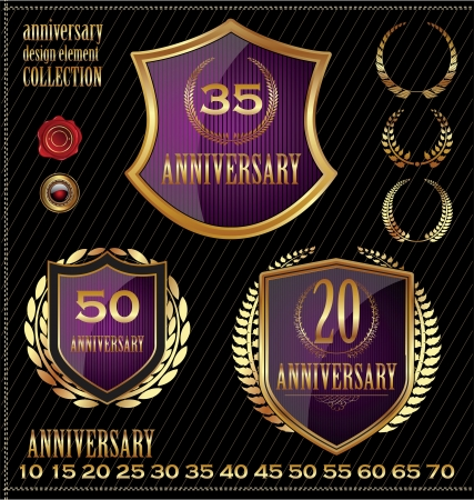 Anniversary gold and purple labels Vector