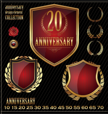 Anniversary gold and red labels Vector