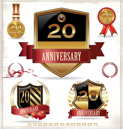 Anniversary shield, gold medals and laurel wreath collection Illustration