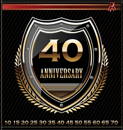 40th: Anniversary golden shield Illustration