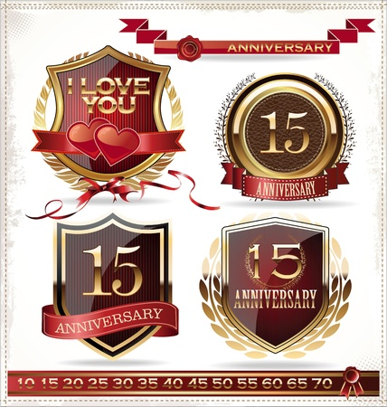 Anniversary golden shields Stock Vector - 19566295