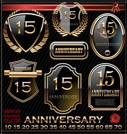 Anniversary golden shields Stock Vector - 19566293