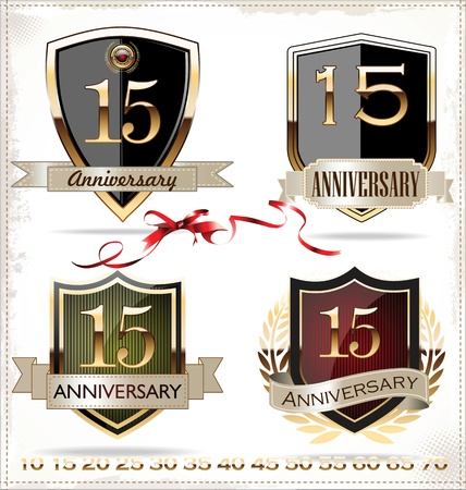 Anniversary golden shields Vector