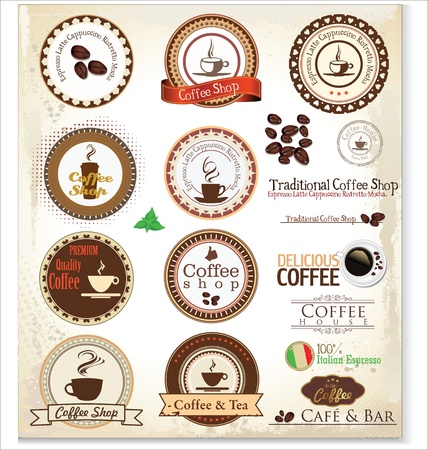 chicchi caff� su sfondo bianco: Etichette Retro Coffee