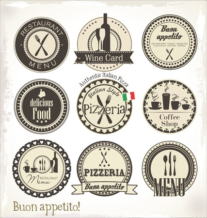 pizzeria label: Restaurant and cafe labels