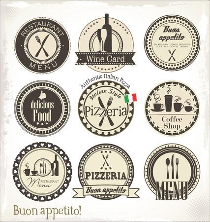 pizzeria label: Restaurante y cafeter?etiquetas