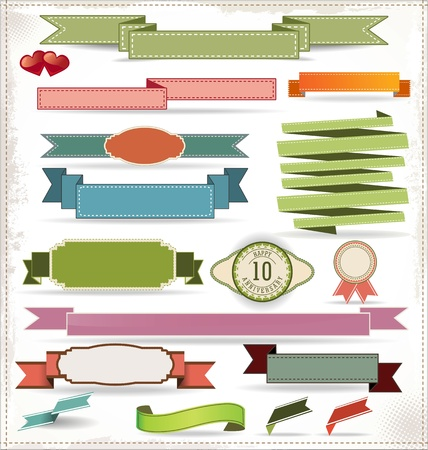 Set of retro ribbons and labels Stock Vector - 19566164
