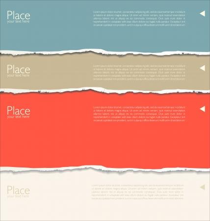 nota de papel: Fondo de papel rasgado con el espacio para el texto Vectores
