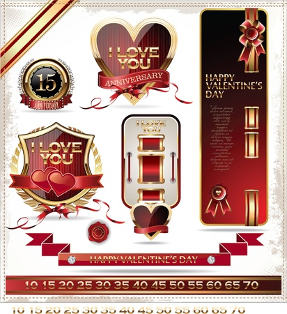 Love and anniversary labels Vector