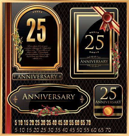 Anniversary Golden label - set Vector