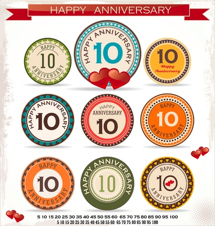 10 years: Anniversary retro labels