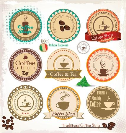 chicchi caff� su sfondo bianco: Set Di Vintage Retro Coffee timbro