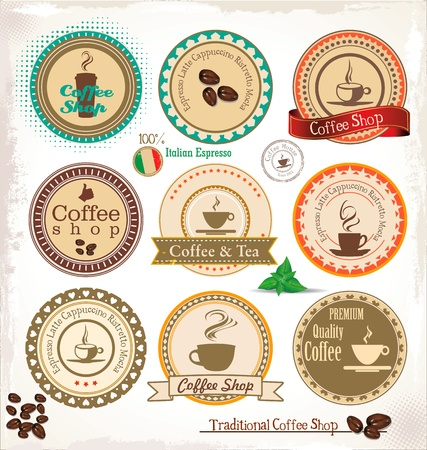 cups silhouette: Set Of Vintage Retro Coffee stamp