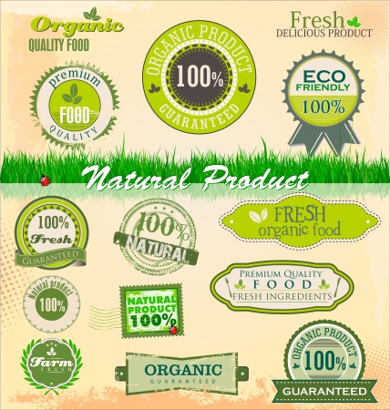 natural health: Organic and eco badges and labels Illustration