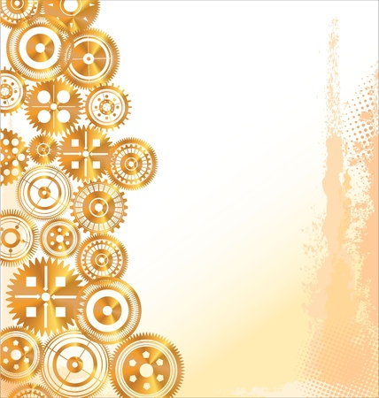 Golden Gears in motion background Illustration