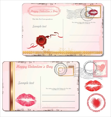 lips kiss: Postcard for Valentines Day Illustration