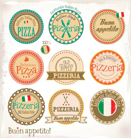 pepperoni: Pizza stamp - set
