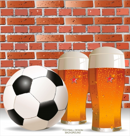 Glass of beer with soccer ball background Vector