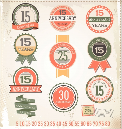 Anniversary sign collection, retro design Stock Vector - 19566537