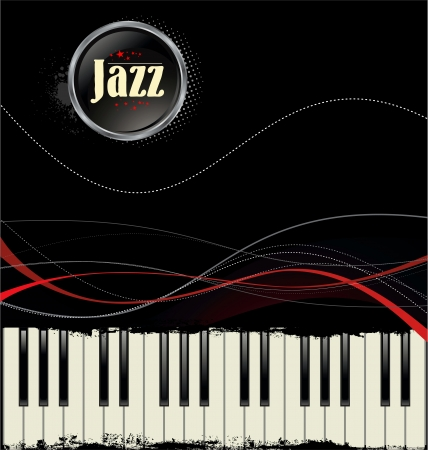 Grunge black and white piano keys with red lines Vector