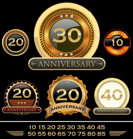 Retro style anniversary sign collection Vector