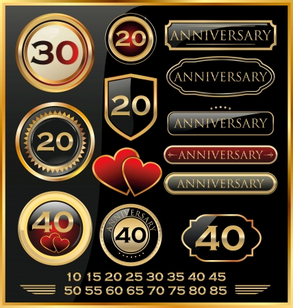 number 50: Retro style anniversary sign collection Illustration