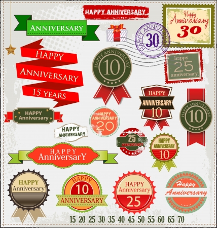 Retro style anniversary sign collection Stock Vector - 19566602