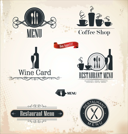 Restaurant and cafe labels Vector