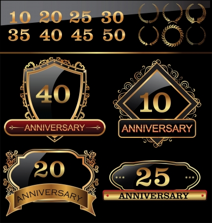 Anniversary golden labels set, shield concept Vector