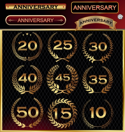 Anniversary golden label with ribbons, golden laurel wreath set Vector