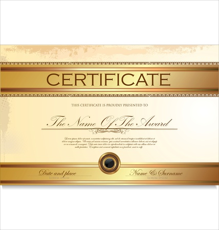 certificate: Certificate or diploma template illustration Illustration