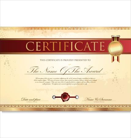 diploma: Certificado o diploma ilustraci?n de plantilla