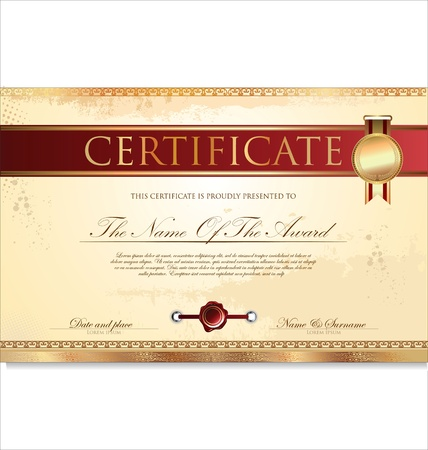 Certificate or diploma template illustration Vector