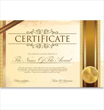 certificado: Certificado o diploma ilustraci�n de plantilla