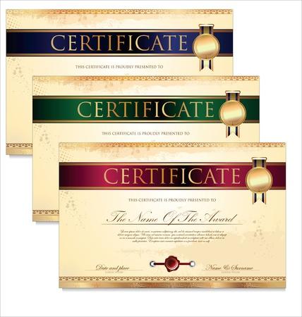 geschenkgutschein: Zertifikat oder Diplom-Vorlage Illustration Illustration