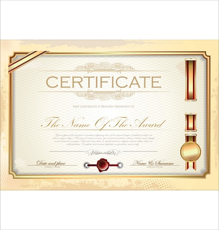 Certificate or diploma template illustration
