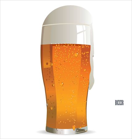 pint glass: Glass of light beer isolated on a white background illustration