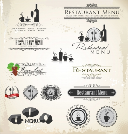 Label set for restaurant Vector