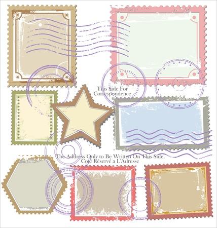 air shipping: Set of post stamp symbols