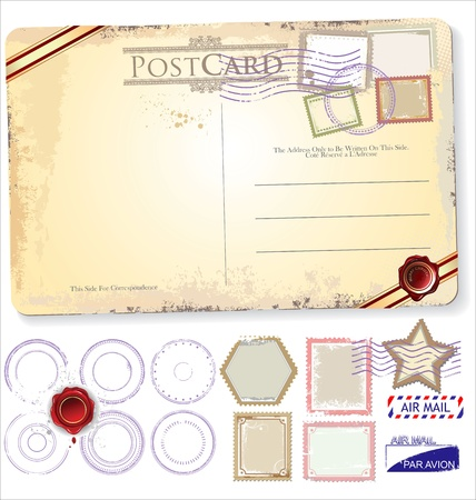 grungy email: Set Of Postage Elements Illustration