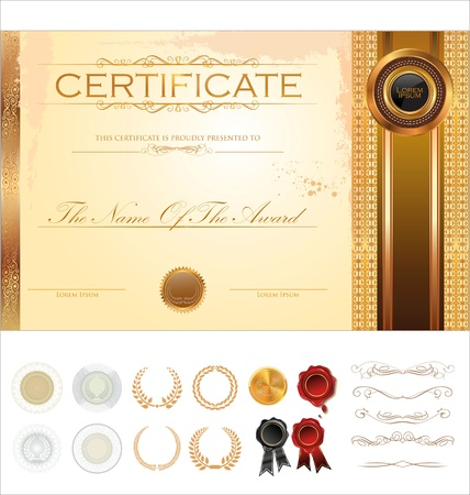 gold seal: Certificate template