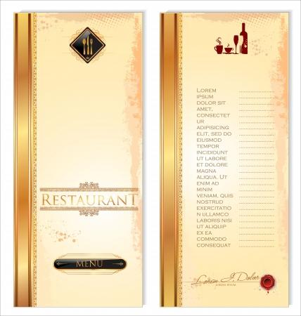 carta de postres: Modelo del menú del restaurante, delante y detrás