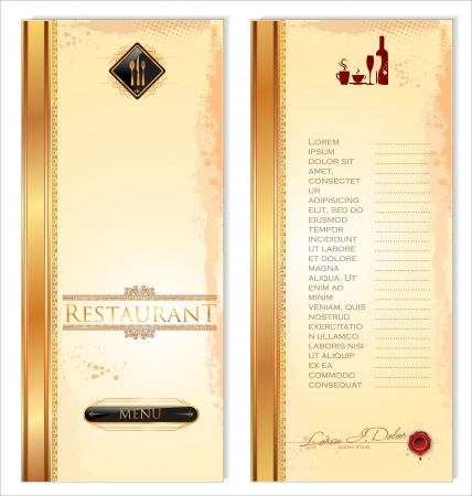 Restaurant menu template, front and back