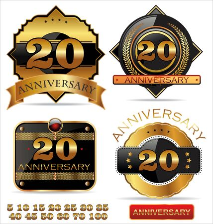 30 40 years: Anniversary golden label with ribbons, set Illustration