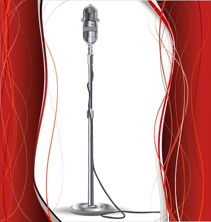 concert audience: Background for design with a retro microphone Illustration