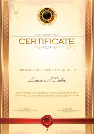 paper currency: Certificate template Illustration